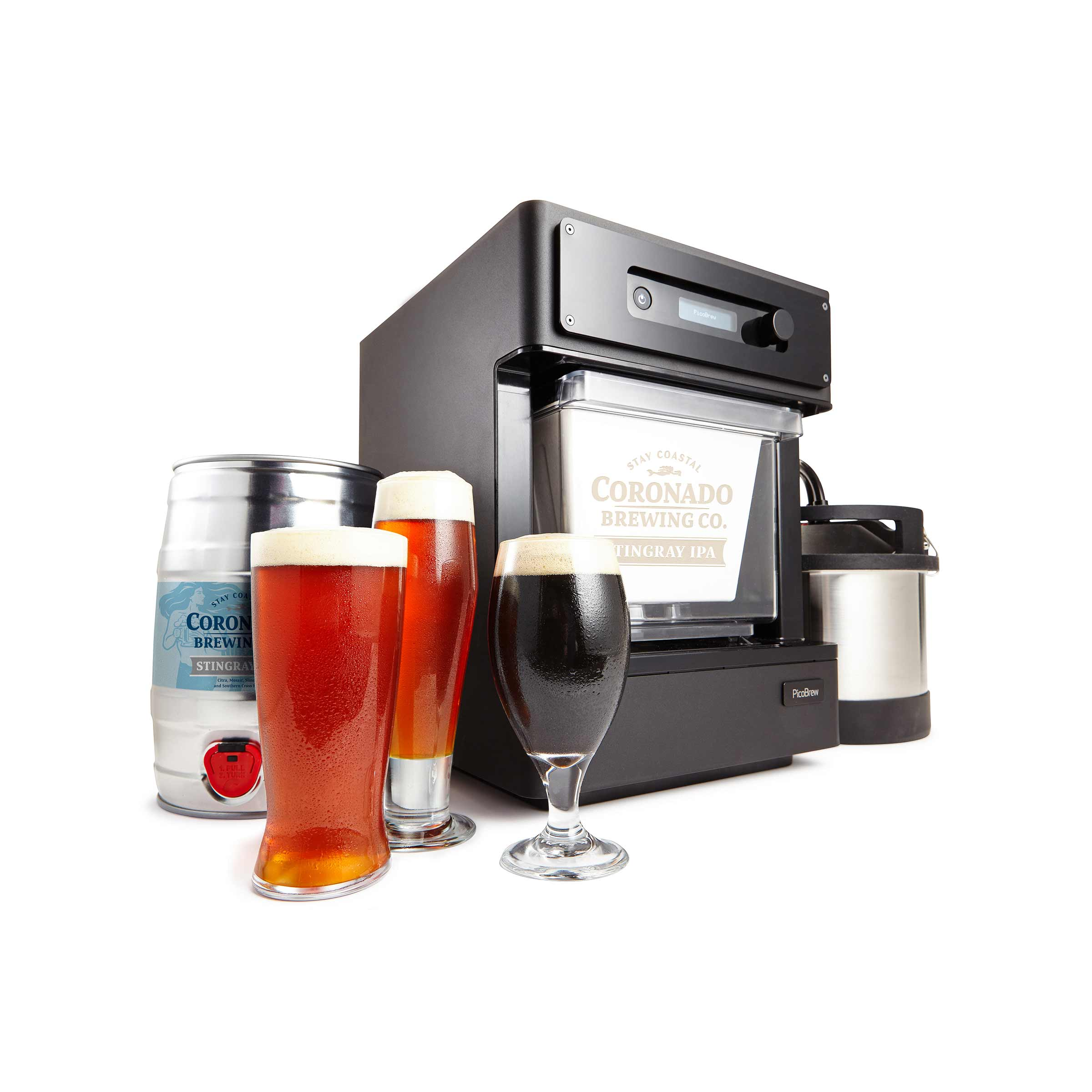 Pico C White Background with Serving Keg