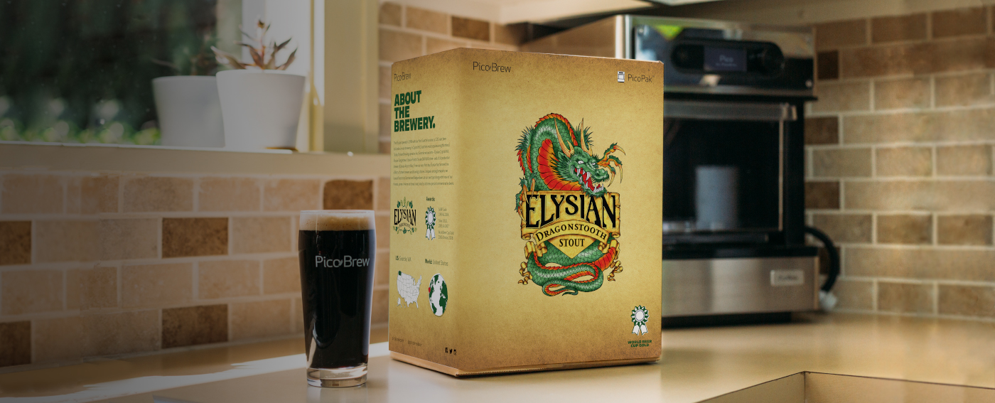 Pico and Elysian Dragonstooh Stout PicoPak on kitchen counter