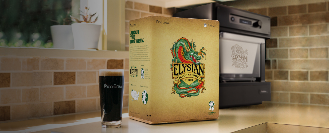 Pico C and Elysian Dragonstooh Stout PicoPak on kitchen counter