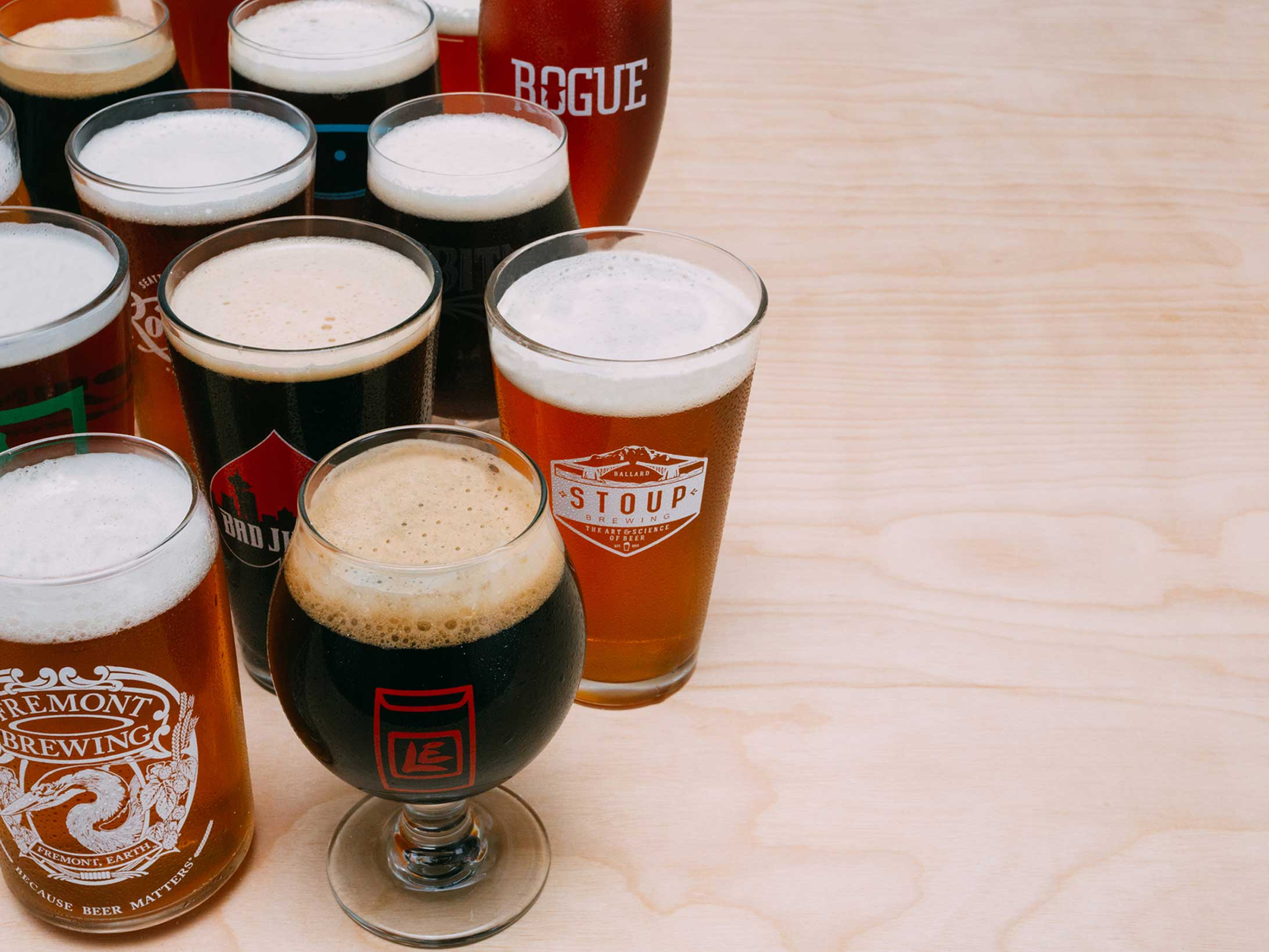 Beer glasses full of beer